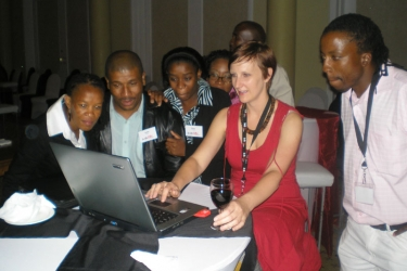 At the launch of the Karabo website on 31 Aug 2007 with the support of Soul City. This was so difficult to create with the limited tech we had back then – a website with geo-mapping of where a person could get HIV testing and counselling.